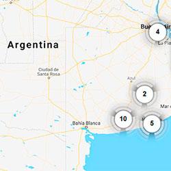 Kort med lydklip fra Argentina og USA