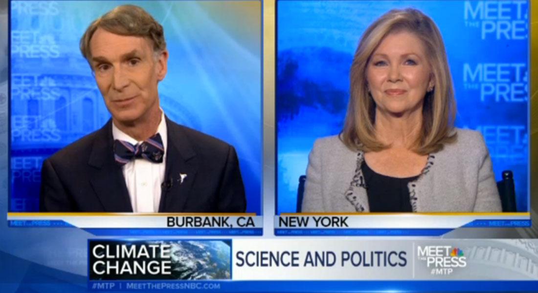 Debat om klimaforandringer på NBC's Meet the Press - en for, en imod