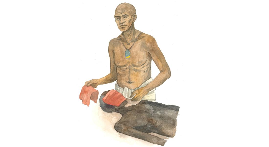 Den sjældne papyrus har givet ny viden om, hvordan de gamle egyptere balsamerede afdødes ansigt. Det foregik med rødt klæde vædet i aromatiske stoffer. Illustration: Ida Christensen